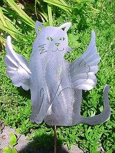 CAT ANGELIC STRAY KITTY FELINE METAL LAWN ART GARDEN STAKE PLANT SPIKE