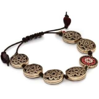 Lucky Brand Tapestry Gold Tone Openwork Red Enamel Bracelet