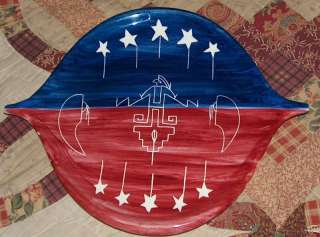 Handmade Ute Indian Signed Red White & Blue Plate