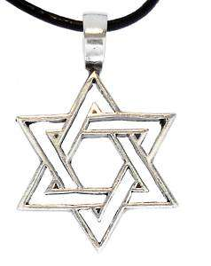STAR OF DAVID Silver Pewter Pendant Leather Necklace