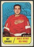 1967 68 TOPPS HOCKEY #106 ROY EDWARDS RED WINGS CARD