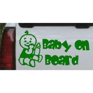 Baby On Board (Boy) Car Window Wall Laptop Decal Sticker    DarkGreen