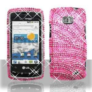 LG VS740 Ally US740 Apex Full Diamond Hot Pink Pink Zebra Case Cover