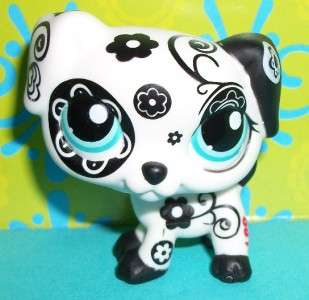 Littlest Pet Shop~#1613 BLACK & WHITE FLOWER DALMATIAN PUPPY DOG~G146