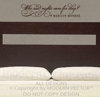 MARILYN MONROE Quote Vinyl Wall Decal WHO SAID NIGHTS WERE FOR SLEEP