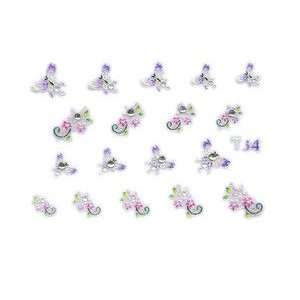 Purple Butterfly & Pink Floral Rhinestone Nail Stickers/Decals Beauty