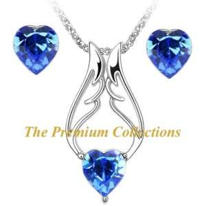 Swarovski Crystal Angel wing Necklace Earrings Set Blue