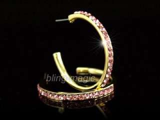 Gold Plat Pink Hoop Earrings w/ Swarovski Crystal SE001