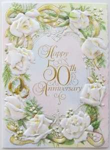 Carol Wilson Happy 50th Wedding Anniversary Card Rose Wreath CG132