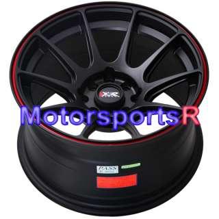 Black Red Stripe Concave Rims Wheels 4x100 90 00 05 Mazda Miata